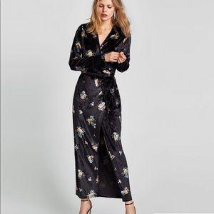 NWOT Zara Velvet Floral Wrap Dress